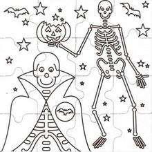 Dibujo para colorear : Halloween: esqueleto y fantasma