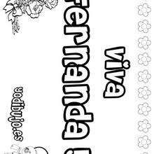 FERNANDA colorear nombres niñas - Dibujos para Colorear y Pintar - Dibujos para colorear NOMBRES - Dibujos para colorear NOMBRES NIÑAS