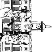 Fagot y oboe en el ayuntamiento - Dibujos para Colorear y Pintar - Dibujos infantiles para colorear - Instrumentos de Música: dibujos para colorear