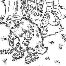 Dibujo para colorear : Castor patinando