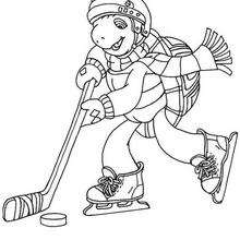 Dibujo para colorear : FRANKLIN juega hockey
