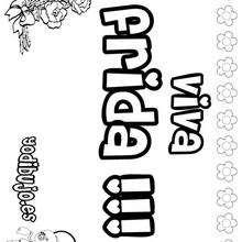 FRIDA colorear nombres niñas - Dibujos para Colorear y Pintar - Dibujos para colorear NOMBRES - Dibujos para colorear NOMBRES NIÑAS