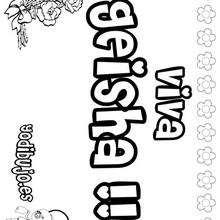 GEISHA colorear nombres niñas - Dibujos para Colorear y Pintar - Dibujos para colorear NOMBRES - Dibujos para colorear NOMBRES NIÑAS