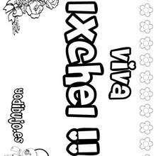 IXCHEL colorear nombres niñas - Dibujos para Colorear y Pintar - Dibujos para colorear NOMBRES - Dibujos para colorear NOMBRES NIÑAS