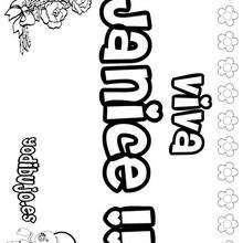JANICE colorear nombres niñas - Dibujos para Colorear y Pintar - Dibujos para colorear NOMBRES - Dibujos para colorear NOMBRES NIÑAS