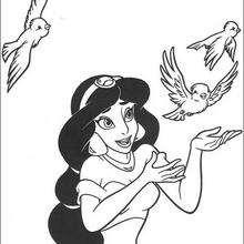 Dibujo para pintar en linea PRINCESA JASMIN DISNEY - Dibujos para Colorear y Pintar - Dibujos DISNEY para colorear - Dibujos para colorear PRINCESAS DISNEY - Dibujos PRINCESA JASMIN para colorear