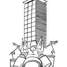 La bateria suena en Torre Garena - Dibujos para Colorear y Pintar - Dibujos infantiles para colorear - Instrumentos de Música: dibujos para colorear