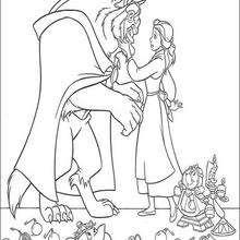 Dibujo para imprimir de BELLA enamorada de LA BESTIA - Dibujos para Colorear y Pintar - Dibujos DISNEY para colorear - Dibujos para colorear PRINCESAS DISNEY - Dibujos LA BELLA Y LA BESTIA para colorear Disney