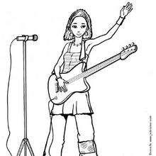 Dibujo para colorear : La cantante con su guitarrá