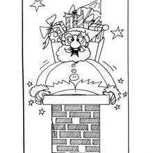 Dibujo para colorear : Papa Noel en la chimenea