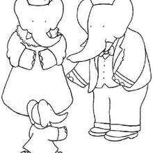 La familia de Babar - Dibujos para Colorear y Pintar - Dibujos para colorear PERSONAJES - PERSONAJES ANIME para colorear - Babar el elefante para pintar