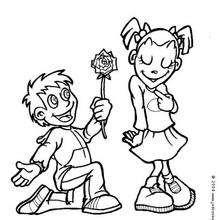 La flor del amor - Dibujos para Colorear y Pintar - Dibujos para colorear FIESTAS - Dibujos para colorear SAN VALENTIN - Dibujo para colorear SAN VALENTIN gratis