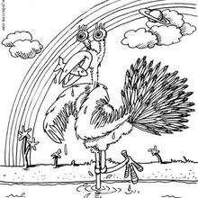 Monstruo avestruz - Dibujos para Colorear y Pintar - Dibujos infantiles para colorear - Monstruos para pintar