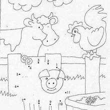Juego de puntos GRANJA - Juegos divertidos - Juegos de UNIR PUNTOS - Juegos de puntos ANIMALES