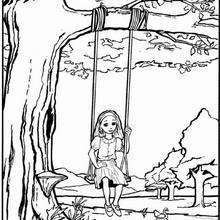 Dibujo de una jovencita sobre el columpio para colorear - Dibujos para Colorear y Pintar - Dibujos para colorear PERSONAJES - Dibujos para colorear y pintar PERSONAJES - Varios personajes para colorear