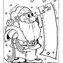 Dibujo para colorear : Papa Noel con lista de regalos
