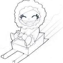 Dibujo de un duende de navidad en el pequeño trineo para colorear - Dibujos para Colorear y Pintar - Dibujos para colorear FIESTAS - Dibujos para colorear de NAVIDAD - Dibujos ELFOS DE NAVIDAD para colorear