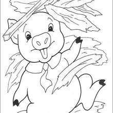 Dibujo de cerdito feliz - Dibujos para Colorear y Pintar - Dibujos de CUENTOS para colorear - Dibujos de los 3 CERDITOS para colorear