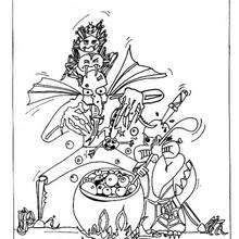 arañas y pocima mágica - Dibujos para Colorear y Pintar - Dibujos para colorear FIESTAS - Dibujos para colorear HALLOWEEN - Dibujos ARAÑA HALLOWEEN para colorear - Colorear ARAÑAS