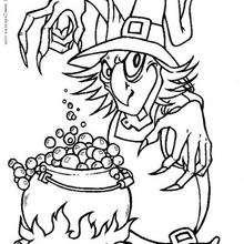La pócima mágica de la bruja - Dibujos para Colorear y Pintar - Dibujos para colorear FIESTAS - Dibujos para colorear HALLOWEEN - Dibujos de BRUJAS para colorear - Dibujo POCIMA DE BRUJA para colorear