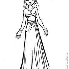 Dibujo de la princesa con un vestido de princesa para colorear - Dibujos para Colorear y Pintar - Dibujos de PRINCESAS para colorear - Dibujos para pintar PRINCESAS