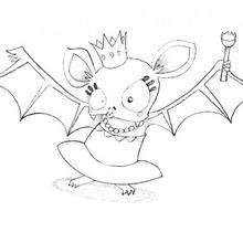 Dibujo para colorear : La reina murciélago de Halloween