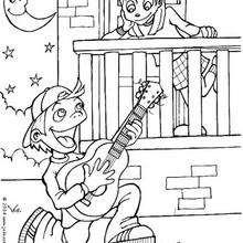 La serenata - Dibujos para Colorear y Pintar - Dibujos para colorear FIESTAS - Dibujos para colorear SAN VALENTIN - Dibujo para colorear SAN VALENTIN gratis