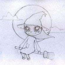 La bruja con su escoba