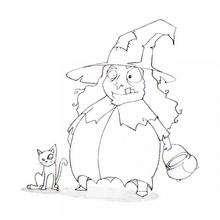 Dibujo de Halloween: bruja y su gato - Dibujos para Colorear y Pintar - Dibujos para colorear FIESTAS - Dibujos para colorear HALLOWEEN - Dibujo para colorear GATO NEGRO halloween