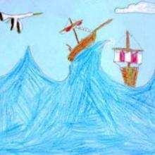 Barcos en la tormenta - Dibujar Dibujos - Dibujos de NIÑOS - Dibujos de la NATURALEZA