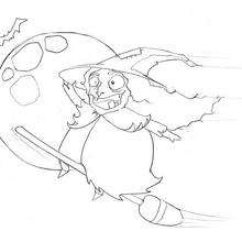La vieja bruja de Halloween - Dibujos para Colorear y Pintar - Dibujos para colorear FIESTAS - Dibujos para colorear HALLOWEEN - Dibujos de BRUJAS para colorear - Dibujos de BRUJA EN SU ESCOBA