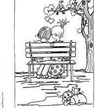 Los enamorados - Dibujos para Colorear y Pintar - Dibujos para colorear FIESTAS - Dibujos para colorear SAN VALENTIN - Dibujos de SAN VALENTIN para colorear e imprimir