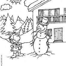 El muñeco de nieve - Dibujos para Colorear y Pintar - Dibujos infantiles para colorear - Colorear las 4 temporadas