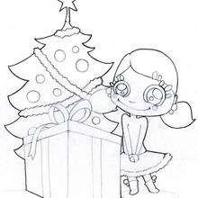 Los regalos delante del árbol - Dibujos para Colorear y Pintar - Dibujos para colorear FIESTAS - Dibujos para colorear de NAVIDAD - Colorear dibujos REGALOS DE NAVIDAD