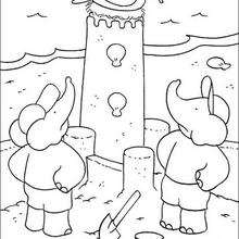 El castillo de arena - Dibujos para Colorear y Pintar - Dibujos para colorear PERSONAJES - PERSONAJES ANIME para colorear - Babar el elefante para pintar