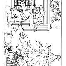 Dibujo Papa Noel con un perro para pintar - Dibujos para Colorear y Pintar - Dibujos para colorear FIESTAS - Dibujos para colorear de NAVIDAD - Dibujos para colorear de PAPA NOEL - PAPA NOEL para colorear