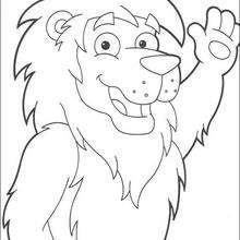 Dibujo para colorear : El león, amigo de Dora
