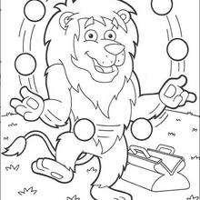 Dibujo para colorear : El león malabarista 1