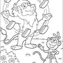 Dibujo para colorear : El león malabarista 2