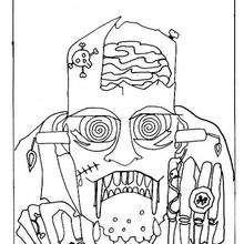 La máscara de frankenstein - Dibujos para Colorear y Pintar - Dibujos para colorear FIESTAS - Dibujos para colorear HALLOWEEN - Dibujos para colorear MONSTRUOS HALLOWEEN