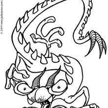 El monstruo serpiente - Dibujos para Colorear y Pintar - Dibujos infantiles para colorear - Monstruos para pintar