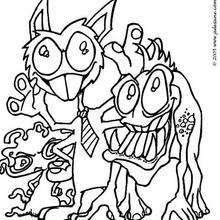 El monstruo con corbata - Dibujos para Colorear y Pintar - Dibujos infantiles para colorear - Monstruos para pintar