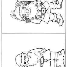 Dibujo de 2 Papas Noel para pintar - Dibujos para Colorear y Pintar - Dibujos para colorear FIESTAS - Dibujos para colorear de NAVIDAD - Dibujos para colorear de PAPA NOEL - PAPA NOEL para colorear