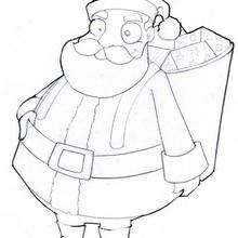 Dibujo para colorear : Papa Noel en la noche del 24