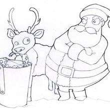 El Papá Noel enojado - Dibujos para Colorear y Pintar - Dibujos para colorear FIESTAS - Dibujos para colorear de NAVIDAD - Colorear dibujos RENOS NAVIDEÑOS