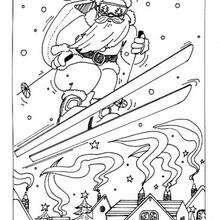 Dibujo Papa Noel esquiando para colorear - Dibujos para Colorear y Pintar - Dibujos para colorear FIESTAS - Dibujos para colorear de NAVIDAD - Dibujos para colorear de PAPA NOEL - PAPA NOEL para colorear