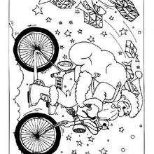 Dibujo Papa Noel para colorear en su bicicleta - Dibujos para Colorear y Pintar - Dibujos para colorear FIESTAS - Dibujos para colorear de NAVIDAD - Dibujos para colorear de PAPA NOEL - PAPA NOEL para colorear