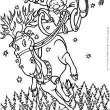 El Papá Noel en su reno - Dibujos para Colorear y Pintar - Dibujos para colorear FIESTAS - Dibujos para colorear de NAVIDAD - Colorear dibujos RENOS NAVIDEÑOS