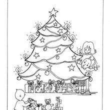 Dibujo Arbol de Navidad con peques para colorear - Dibujos para Colorear y Pintar - Dibujos para colorear FIESTAS - Dibujos para colorear de NAVIDAD - Dibujos para colorear ARBOL DE NAVIDAD