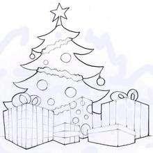 Dibujo Arbol de Navidad con regalos para pintar - Dibujos para Colorear y Pintar - Dibujos para colorear FIESTAS - Dibujos para colorear de NAVIDAD - Dibujos para colorear ARBOL DE NAVIDAD